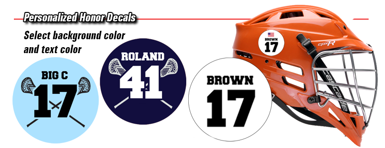 Lacrosse helmet number decals by decalguyz com
